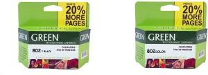 Green 802 inkjet cartridges Multi Color Ink