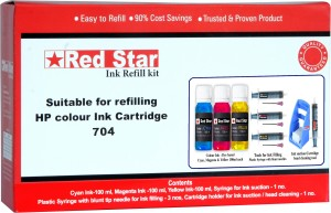 Red Star ink refill kit for HP 704 cartridge Multi Color Ink