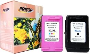 Pritop 802XL ink cartridge for HP Deskjet 1000 (J110a) 1050 1051 1055 2000 (J210a) 2050 1050A 2050A 3000 3050 3055A 3510 3512 1010, 1510 Office jet 2620 4630 Multi Color Ink