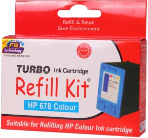 Turbo Ink refill kit for HP 678 cartridge Multi Color Ink