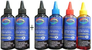 Gocolor HP Premium Quality Inkjet Refill Ink 100 ML X 4 Colours + 2 Black Extra Single Color Ink