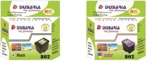 Dubaria 802 Black & 802 Color Ink Cartridge Combo Twin Pack For Use In HP DeskJet 2131 Printer Multi Color Ink