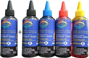 Gocolor Canon Premium Quality Inkjet Compatible Ink 100 ML X 4 Colours + 1 Black Extra (Dye Ink Combo) Single Color Ink