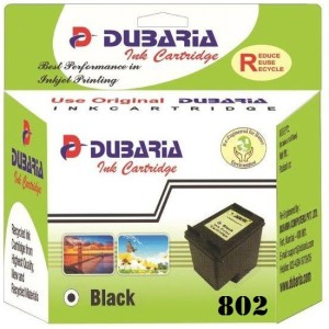 Dubaria 802 Black Ink Cartridge Compatible For HP 802 Black Ink Cartridge For Use In HP DeskJet 1000 Series - J110, 1050 All-in-One Series - J410, 2000 Series - J210, 2050 All-in-One Series - J510, 3000 Series - J310, 3050 All-in-One Series - J610, Ink Advantage 2010 K010, Ink Advantage 2060 All-in-One K110 Single Color Ink
