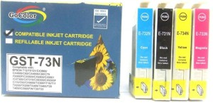Gocolor Compatible Cartridges 73N for All Epson Printer TX210/T13/TX121 Other Printer etc ( One Time Use ) Multi Color Ink