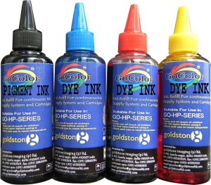 Gocolor HP Premium High Quality Refill Ink Black Pigment & C/M/Y Dye Ink Multi Color Ink