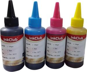 Inkclub 100mlx 4 Compatible Epson L220, L100,L110,L130,L200,L210,L300,L350,L355,L310,L360,L365,L455,L550,L555,L565,L1300 Ink Multi Color Ink