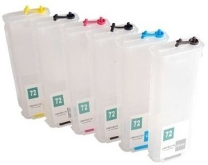 Dubaria Empty Refillable Cartridge For HP T920, T930, T1500, T1530, T2500, T2530 Plotter W/o Chip Printers Compatible With HP 727 All Six Colors Multi Color Ink