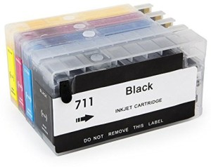 Dubaria Empty Refillable Cartridge For HP T 120 / 520 / 920 Printers Compatible With HP 711 All Four Colors Multi Color Ink