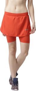 2Go Solid Women's Straight Orange Skirt