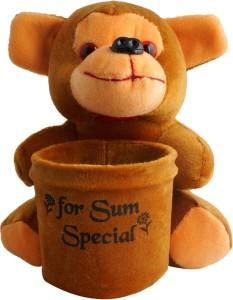 Aarushi Monkey Stuffed Toy Pen Holder  - 16 cm