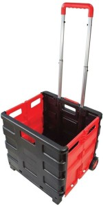 Shrih Red And Black Foldable Shopping Plastic Kitchen Trolley