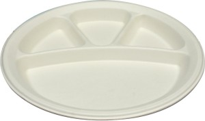 Ezee ECO FRIENDLY 4 COMPARTMENT ROUND PLATE 10Pcs (Pack of 5) Plate Set