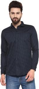 Being Fab Men's Polka Print Casual Dark Blue Shirt