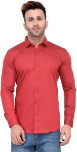 Being Fab Men's Geometric Print Casual Red Shirt