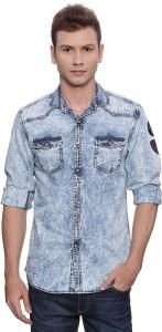 Bandit Men's Solid Casual Denim Blue Shirt