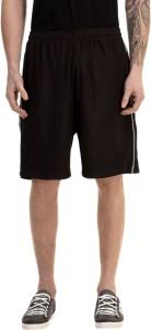 Avigo Solid Men & Women Black Sports Shorts
