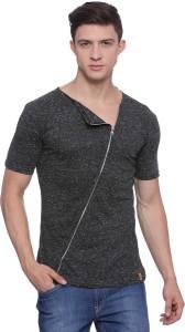 Campus Sutra Solid Men Scoop Neck Black T-Shirt