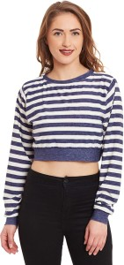 Miss Chase Casual Full Sleeve Striped Women's Blue, White Top