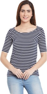 Miss Chase Casual Short Sleeve Striped Women's Blue, White Top