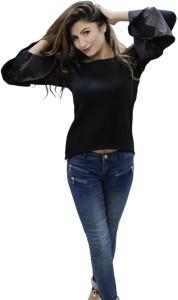 CrazeVilla Casual Bell Sleeve Solid Women Black Top