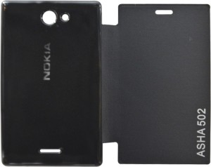 save off 71fea 368aa COVERNEW Flip Cover for Nokia Asha 502Black, Flip Cover