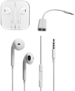 YGS Earpods Handsfree For Apple Iphone 6 Wired Headphones with Remote and Mic with Audio Splitter. Accessory Combo