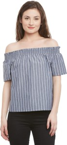 Ruhaan's Casual Short Sleeve Striped Women's Grey, White Top