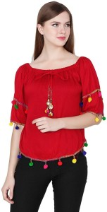 oneOeightdesigns Casual 3/4th Sleeve Solid Women's Red Top