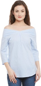 Ruhaan's Casual 3/4th Sleeve Striped Women's Blue, White Top