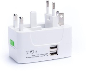 ADAPTOR Universal Worldwide Travel Adapter with Built In Dual USB Charger Ports Worldwide Adaptor