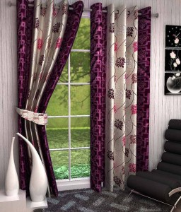 Fresh from Loom Polyester Pink Floral Ring Rod Long Door Curtain