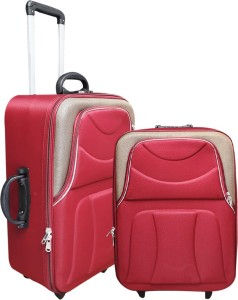 United Mescos Maroon Brown Check-in Luggage - 24 inch