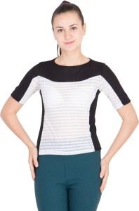 khhalisi Casual Short Sleeve Striped Women's Multicolor Top