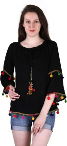 Myshka Casual 3/4th Sleeve Solid Women's Multicolor Top