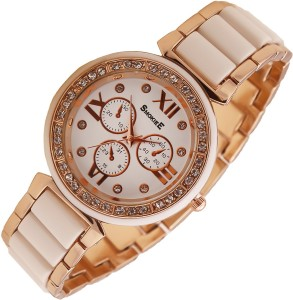 The Smokiee T-S-77021 Silver Tone Stainless Steel Metal with White Accents Analog Watch  - For Girls