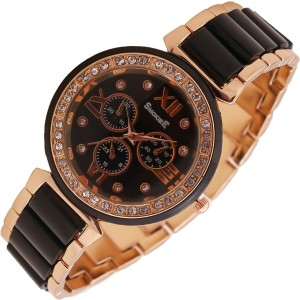 The Smokiee T-S-00020 Golden Tone Stainless Steel Metal with Black Accents Analog Watch  - For Girls