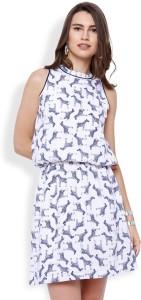 Tokyo Talkies Women's Blouson White, Blue Dress