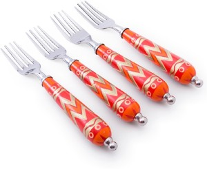 Chumbak Chevron In Red Stainless Steel Table Fork Set