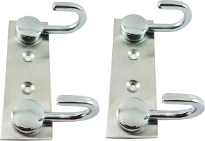 DOCOSS Set Of 2-Button 2 Pin Bathroom Cloth Hanger Wall Robe Hooks Rail For Hanging Keys,Clothes,Towel Steel 2 - Pronged Hook Rail
