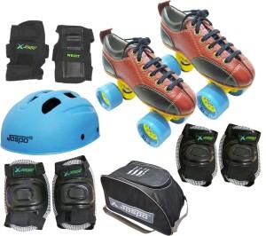 Jaspo Jaspo Hail Stone Pro Shoe Skate SIZE-2 UK combo (shoe skates+  helmet+knee+elbow+wrist+bag) Foot length 22.9 cms ( For age group 8-9  years) Skating Kit 248b1c92498dc