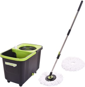 TRUENOW VENTURES Pvt. Ltd Plastic Bucket with Stainless Steel Handle Mop Set Including 2 Absorbers Mop Set