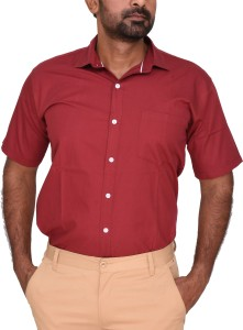 Royal Crown Men's Solid Casual Red Shirt