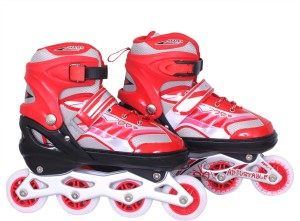 9813f215a5cc Running Push button Adjustable In line Skates Size 8 9 UK Red Best ...