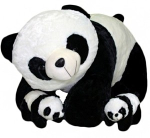 PIST Soft Toys Gift Family Panda Mother With Two babys Black & White  - 40 cm