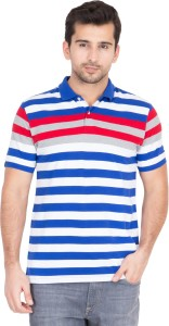 dda78a84b Red Tape Striped Men s Polo Neck Multicolor T Shirt Best Price in ...