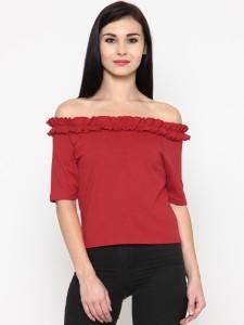 Calgari Casual Short Sleeve Solid Women's Red Top