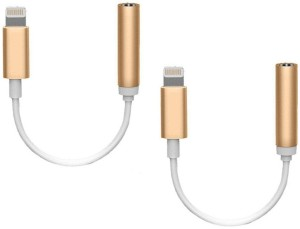 BB4 SET OF 2 Lightning To 3.5mm Headphone Jack Adapter for Iphone 7,7 plus AUX Cable USB Adapter