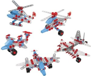 Toys Bhoomi 5 in 1 3D Assembly Metal Warplane Aircraft Vehicles Model Building Construction Block Toy Puzzles Playset - 274 Pieces