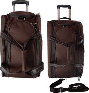 dfa6b1fdd7 Timus CUBA BROWN 55   65CM 2 WHEEL DUFFLE TROLLEY BAG FOR TRAVEL SET OF 2  Duffel Strolley BagBrown